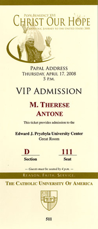 Ticket to see the Pope