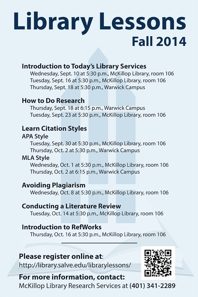 Library Lessons Fall 2014 schedule