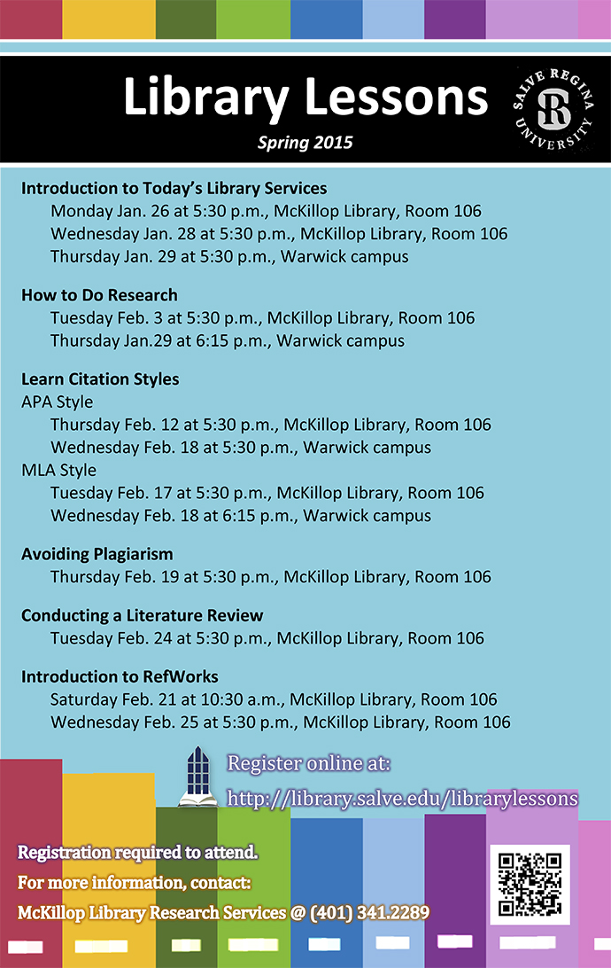 Library Lessons Spring 2015 schedule