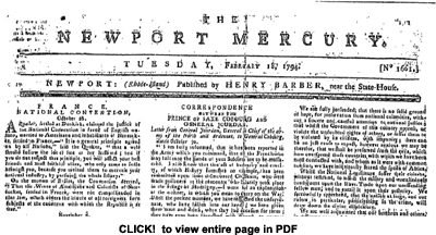 Newport Mercury, 1794 - Click to view entire page in PDF