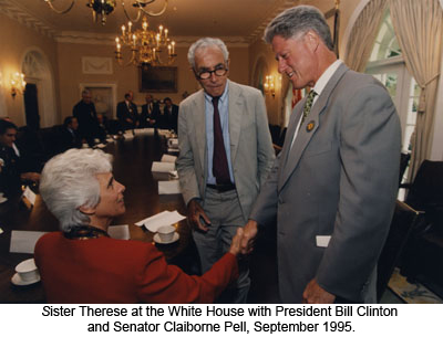 Therese Antone, R.S.M., Bill Clinton, Claiborne Pell