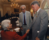 Sen. Claiborne Pell with Sr. Therese Antone and Pres. Bill Clinton